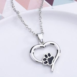 paw print heart silver necklace